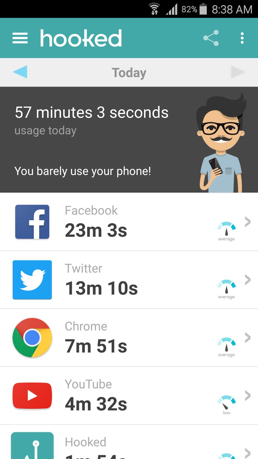 تطبيق Hooked لمعرفة كم دقيقة استخدمت كل تطبيق | بحرية درويد