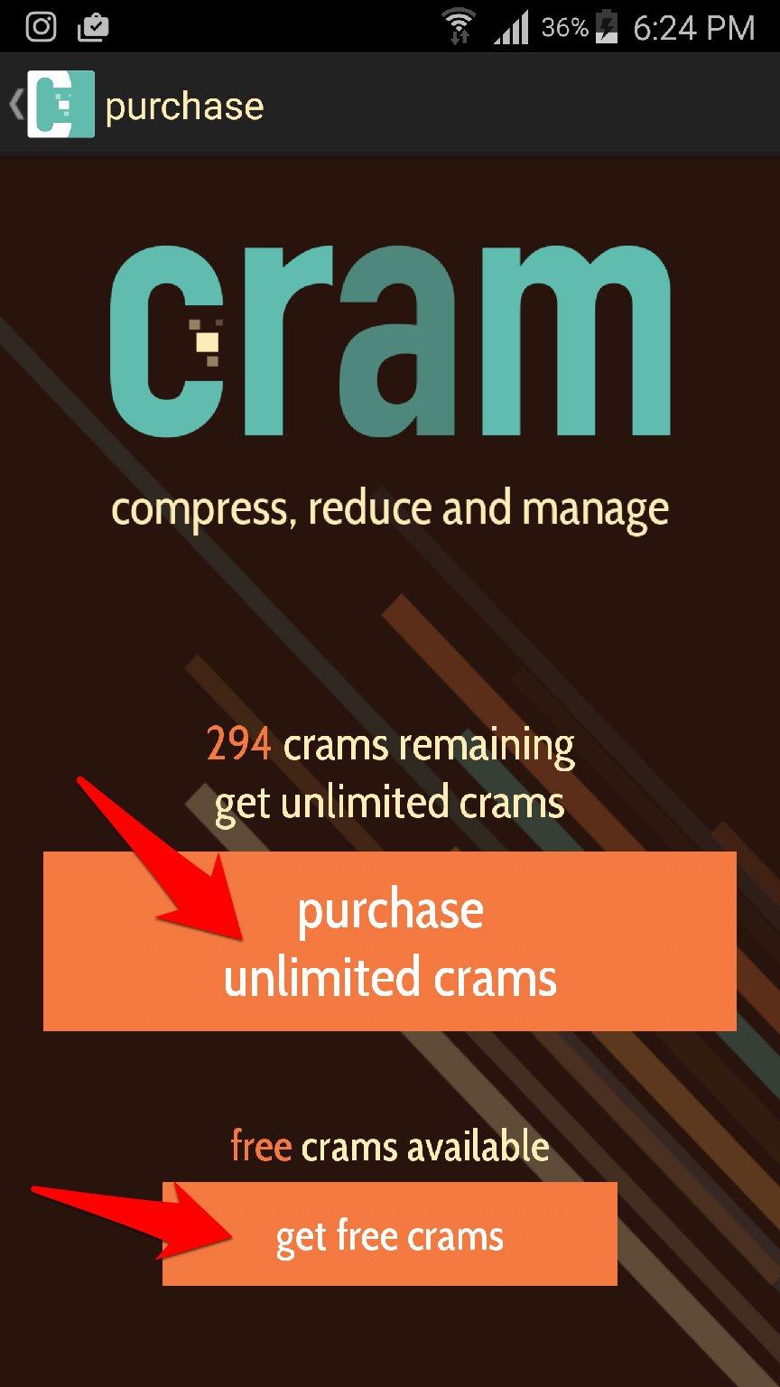 اضغط حجم الصور وقلله الى الضعف مع تطبيق Cram و حل مشكلة الذاكرة ممتلئة | بحرية درويد