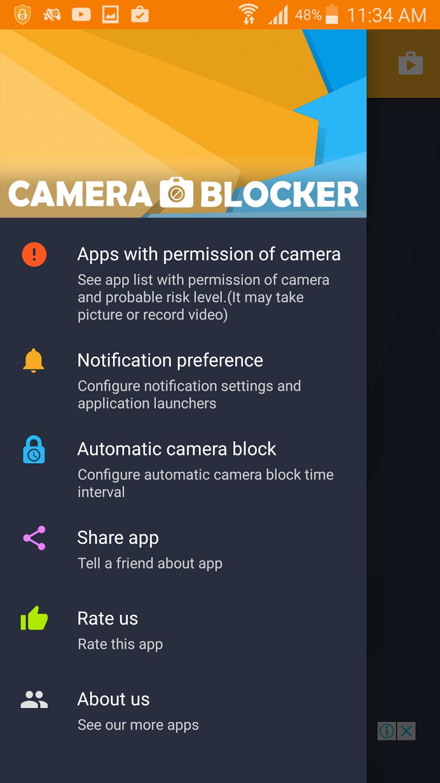 تطبيق Camera Blocker لحماية كاميرا جوالك الاندرويد من التجسس   بحرية درويد