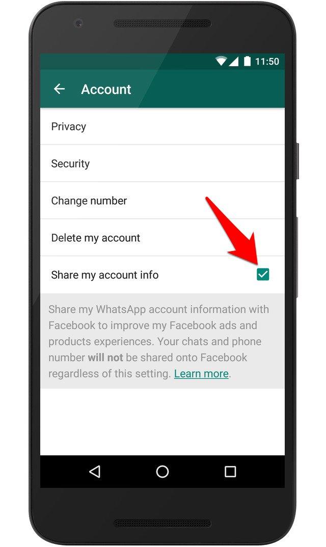 كيف تمنع واتس اب من مشاركة بياناتك ورقم هاتفك مع فيسبوك | بحرية درويد