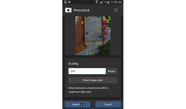تغيير حجم الصور من خلال تطبيق PhotoStack