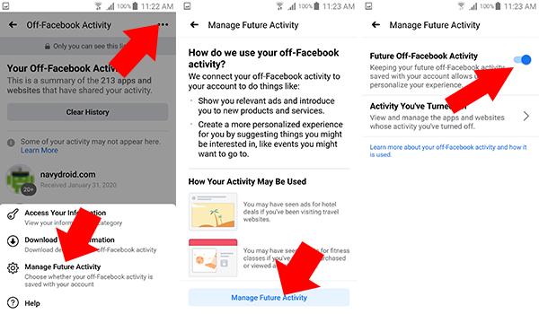 ايقاف Off-Facebook Activity عن كل المواقع